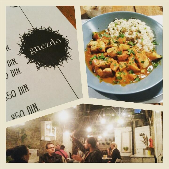 Curry at Gnezdo organic restaurant in Belgrade