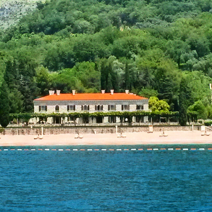 View on of palace on Milocer beach in Montenegro