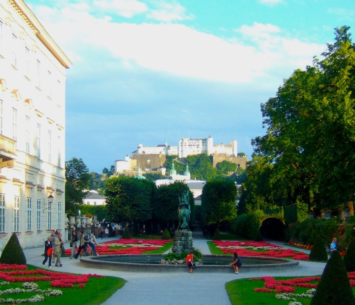 View of the fortress from Mirabell Gardens in Salzburg