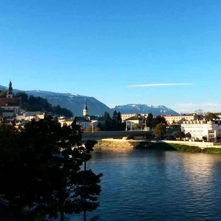 The view of the Salzach River from the room at Motel One