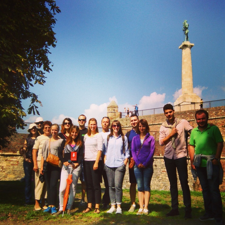 Belgrade Free Tour – my group at the Belgrade Fortress in front of the Victor Monument
