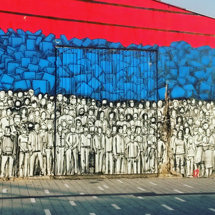 Street art sprayed on the warehouses around Braće Krsmanović in Belgrade