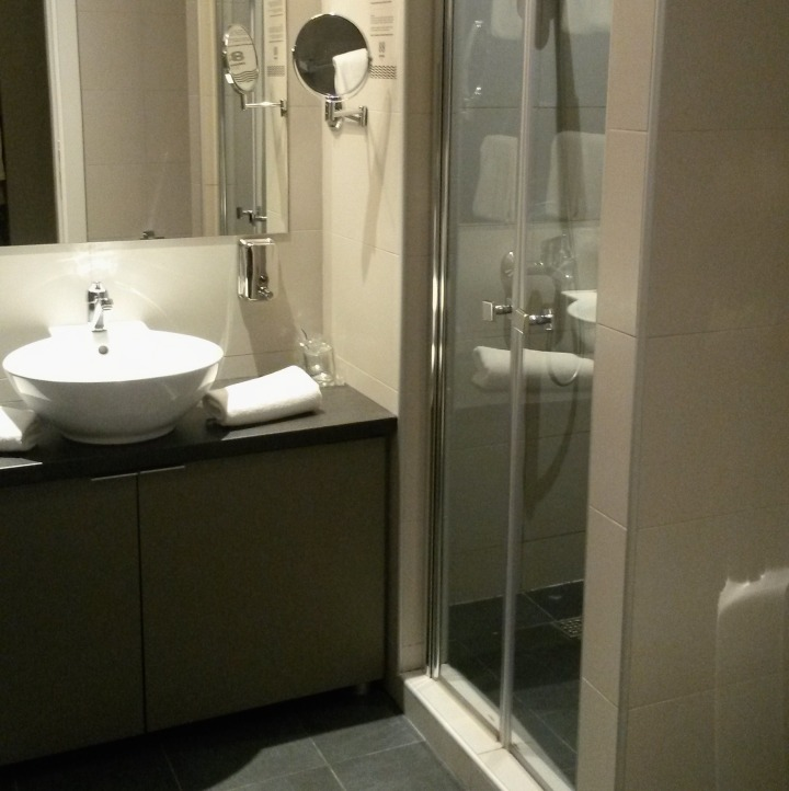 Modern bathroom at 88 Rooms hotel in Belgrade