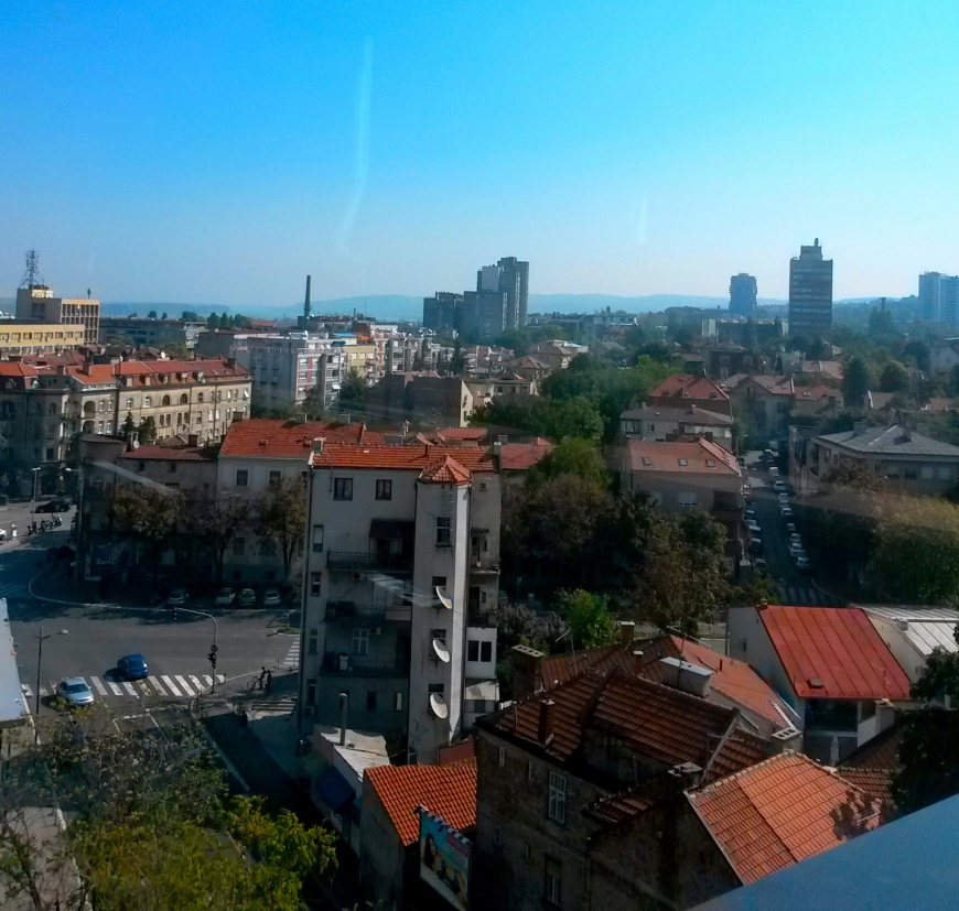 The view of Belgrade from 88 Rooms' rooftop breakfast room