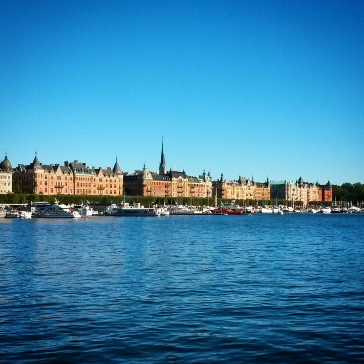 The view of Östermalm when walking over from Skeppsholmen, in Stockholm
