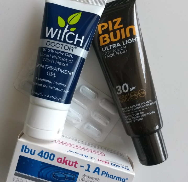 daypack-essential-items-pizbuin-suncream-witchdoctor-ibuprofen