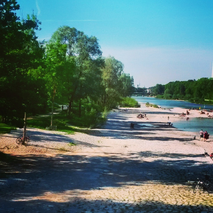 The Isar River in Munich in summer