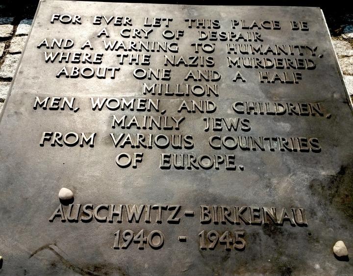 Auschwitz Birkenau memorial plaque