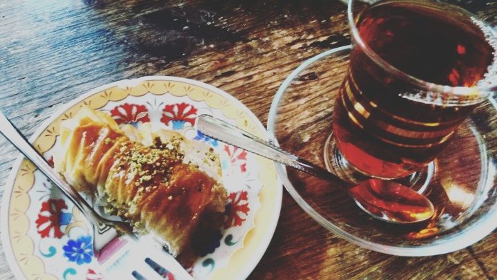 Baklava and Turkish tea at Lezizel Manti
