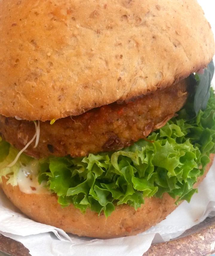 Burger at Krowarzywa vegan restaurant