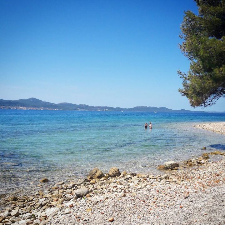 Beach and clear blue skies near Zadar